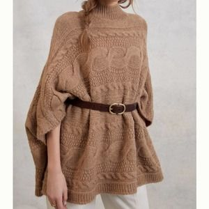Anthropologie Rosamund Cable-Knit Poncho Taupe